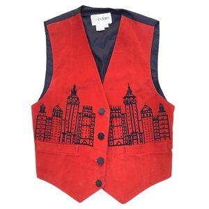 Vintage Cedars Red Black Leather Suede City Vest